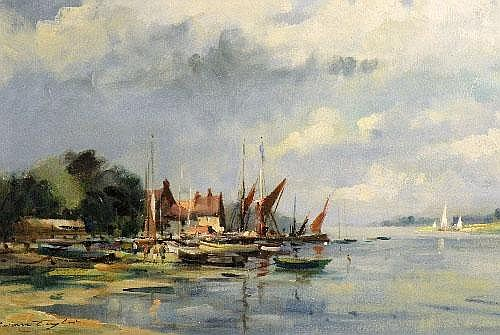 Ivan Taylor, b. 1946 'Thames barges, Pinmill,