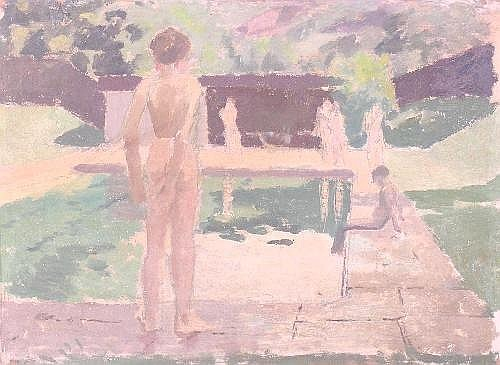 Maurice Field, 'Sketch at the swimming pool', oil on board, signed and inscribed on reverse, 10.5
