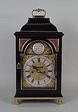An 18th century English ebonised bracket clock ,