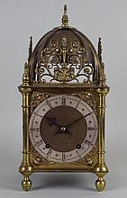 A Victorian brass eight day lantern clock, the 6