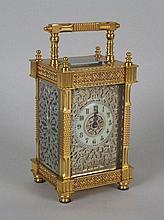 A gilt brass carriage clock, circa 1880, the
