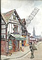 Arthur Netherwood (1864-1930) 'Old houses on the, Arthur Netherwood, Click for value