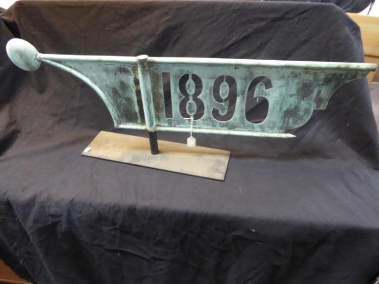 weathervane lightning rod copper 1896 cut out part of of