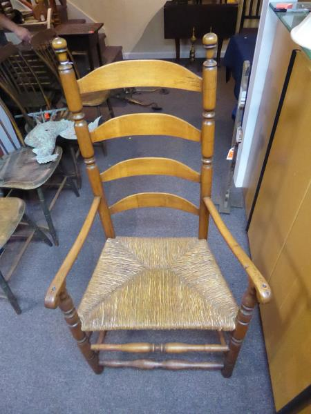arm chair 4 ladder back sausage turned front rails rush s
