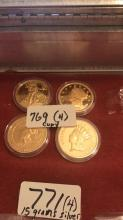 4 commemorative gold layered coins