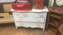 White painted dresser with glass pulls