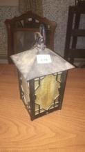 Slag glass cast iron lantern