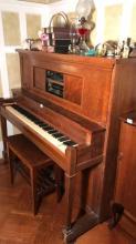 Volo Grand player piano, upright w/ 12 rolls