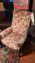 Holstered armchair wood frame, Victorian