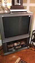 Panasonic TV with VHS cassettes