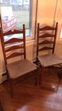 Ladder back, rush seat dining chairs