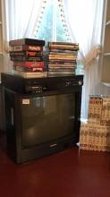 Should be she TV with Panasonic VCR and collection of DVDs and VHS cassettes