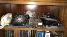 2 rotary wall phones, rotary desk phone and princess phone