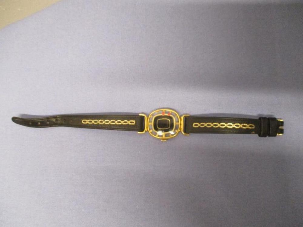 Ladies Juvenua Watch, Swiss w/ Black Leather Band 17 Jewels, Side Marking: Microns w/ Clear Back