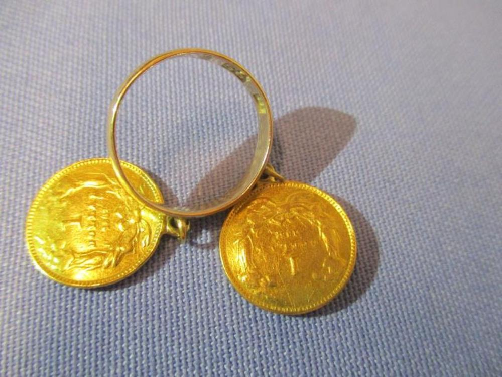 Ring w/ (2) Gold Liberty Dollar Coins 1861 / 1862 Wing Marked 1874, 56, Initials BT, Total Weight: .5OZ