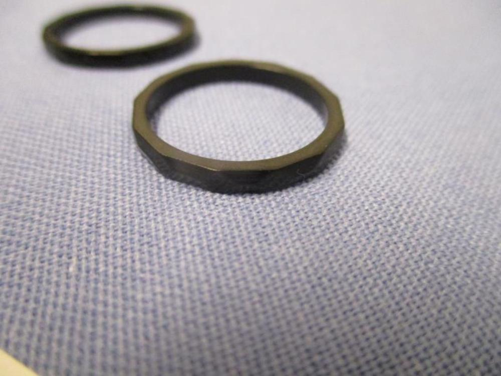 2 Thin Jet Black Rings