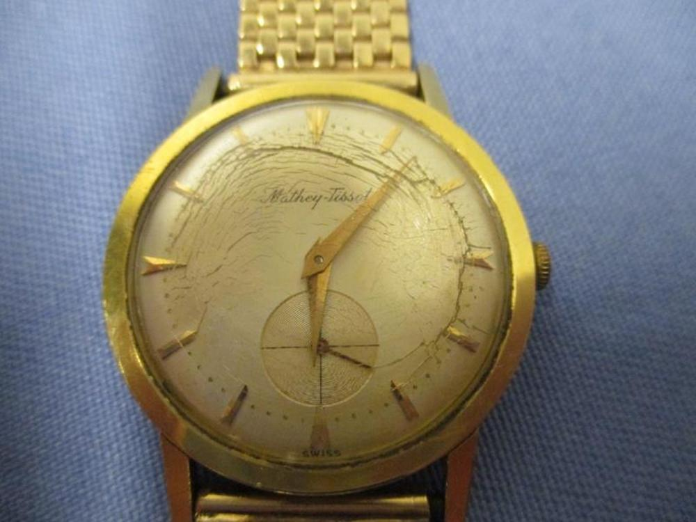 Mans Mathew - Tissot Wrist Watch, 14K Gold Band SN: 175822, Total  Weight 51 Grams, Damage To Crystal