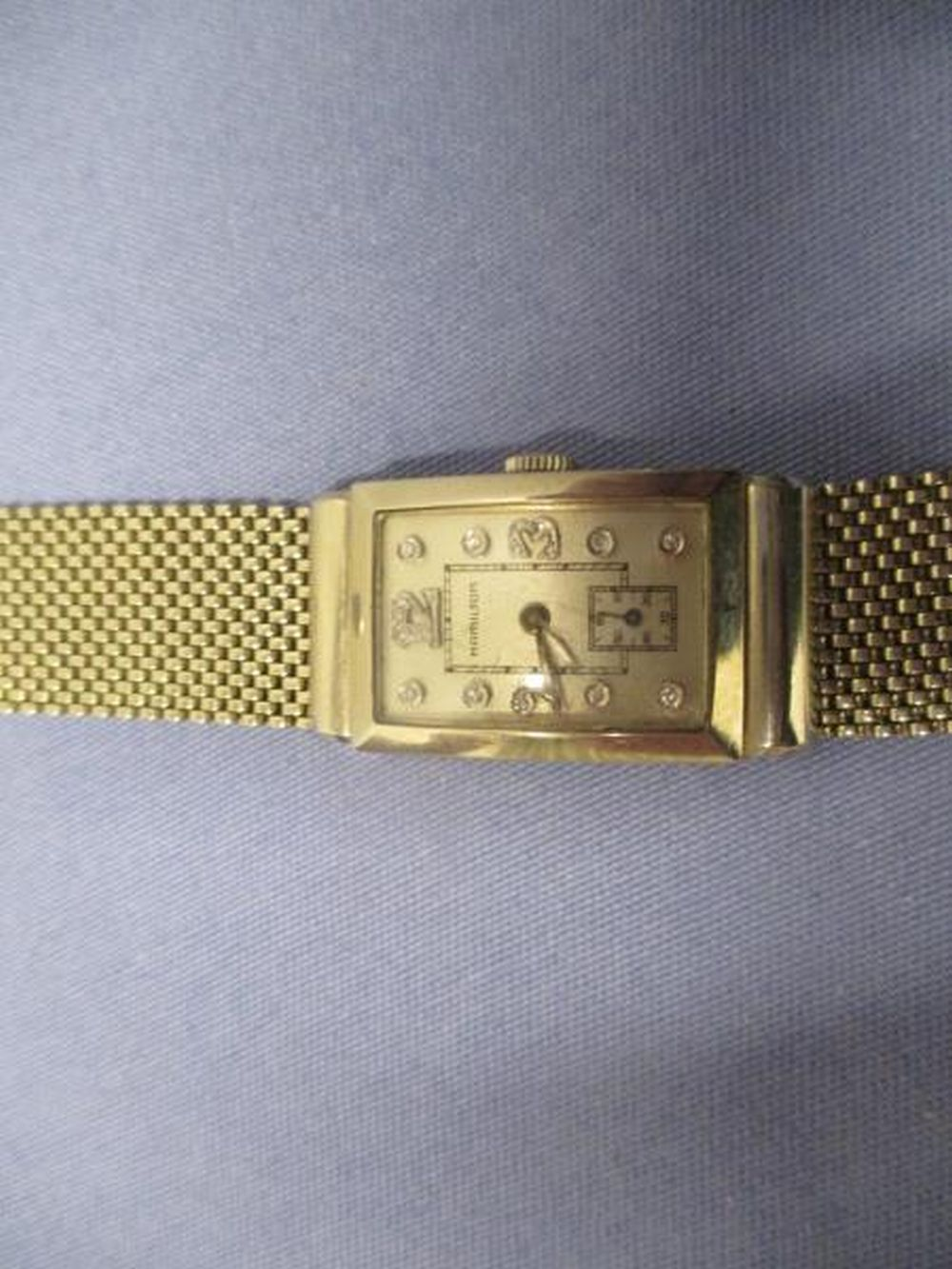 Hamilton 14K Gold Wrist Watch, 18K Woven Gold Bank 15 Full Cut Diamonds On Face, Total Weight 66.5 Grams