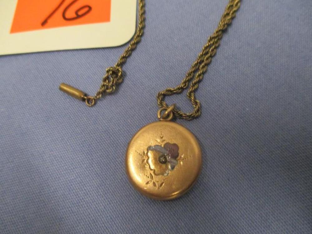 Locket w/ Diamond Chip, Monogramed On Reverse