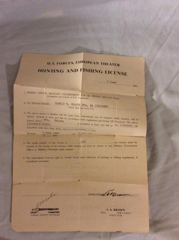 Vintage Hunting and Fishing License from World War II Overseas