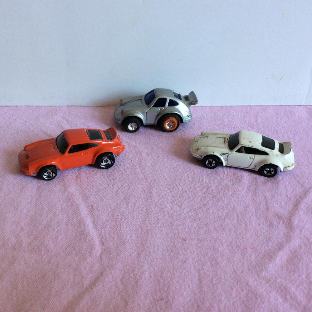 3x Vintage Porsche 911 Turbo Toy Die Cast Hot Wheels Cars