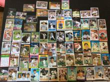 Table Top of Giants Player Baseball Cards Vintage and Modern Variety