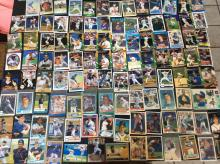 Table Top of Braves Player Baseball Cards Vintage and Modern Variety