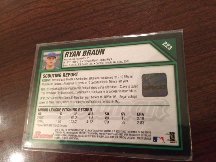Ryan Braun Autographed Bowman Rookie Baseball Card