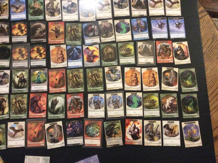 Table top of magic the gathering cards variety of tokens - Magic the gathering game table ...