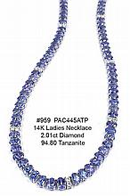 14K Ladies Necklace 2.01ct Diamond 94.80ct Tanzanite