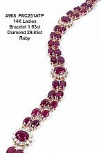 14K Ladies Bracelet 1.93ct Diamond 29.85ct Ruby