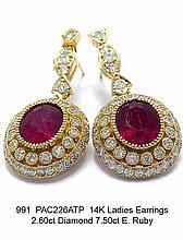 14K Ladies Earrings 2.60ct Diamond 7.50ct E. Ruby