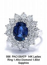 14K Ladies Ring 1.40ct Diamond 1.80ct Sapphire