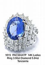 14K Ladies Ring 3.90ct Diamond 5.84ct Tanzanite