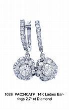 14K Ladies Earrings 2.71ct Diamond