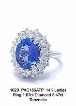 14K Ladies Ring 1.67ct Diamond 3.47ct Sapphire
