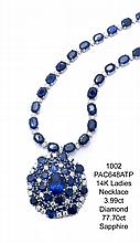 14K Ladies Necklace 3.99ct Diamond 77.70ct Sapphire