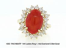 14K Ladies Ring 1.14ct Diamond 5.30ct Coral