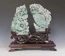 Jadeite Carving of Birds and Folliage with GIA Certificate