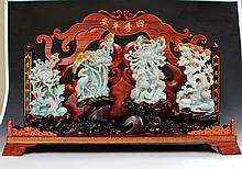 Four Seasons Jadeite Carving on Custom Wood Stand