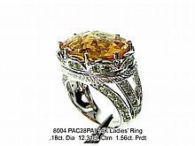 14K Ladies' Ring  .18ct. Dia  12.31ct. Ctrn  1.56ct. Prdt