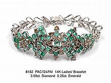 14K Ladies' Bracelet  3.59ct. Diamond  5.25ct. Emerald