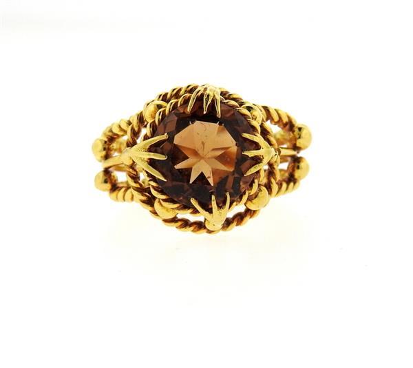 22k gold orange gemstone ring