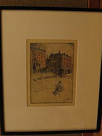 Charles Mielatz (1864-1919) Man Reading by Washington Square Park Etching on Paper