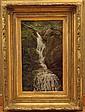 Aaron Draper Shattuck (1839-1928) Waterfall Cascading over Rocks,Oil on Board