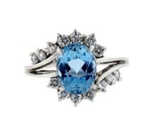 Platinum Aquamarine Diamond Ring