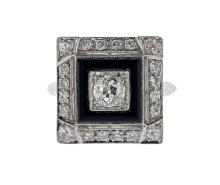 Art Deco Platinum Diamond Onyx Square Ring