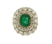 Large 18k Gold Diamond Emerald Cocktail Ring