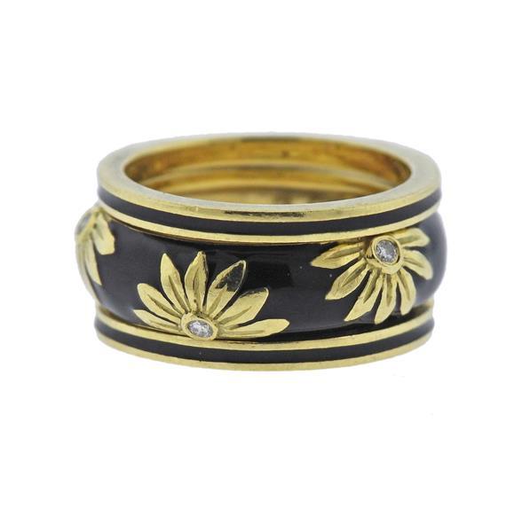 Hidalgo 18K Gold Diamond Enamel Band Ring Lot of 3