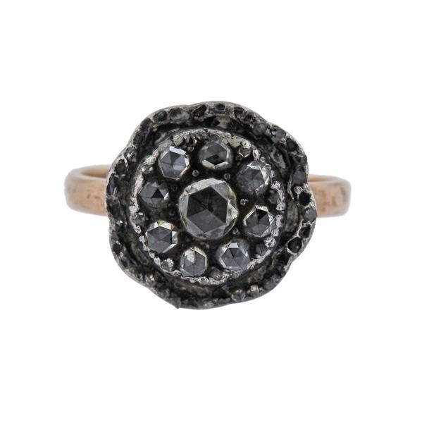 Antique 14K Gold Silver Diamond Ring